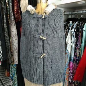 Ann Taylor Loft Faux Fur Trimmed Hooded Cape
